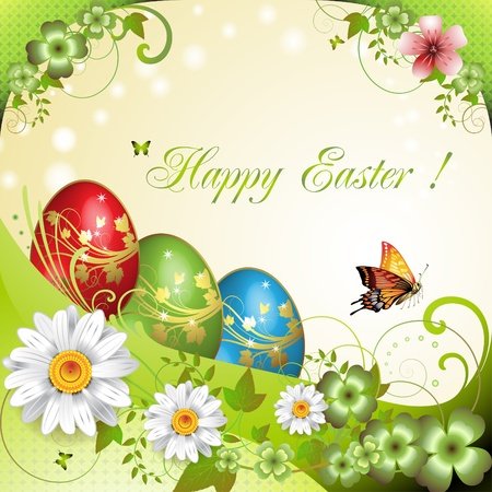 Easter card with butterflies and decorated eggs Vector