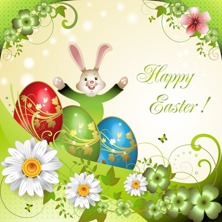 Easter card with bunny, flowers and decorated eggs  Vector