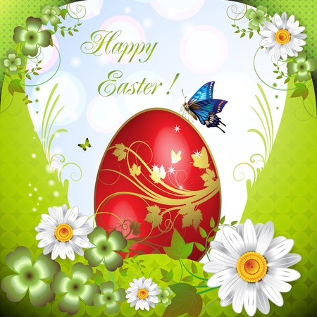 Easter card with butterflies and decorated egg Vector