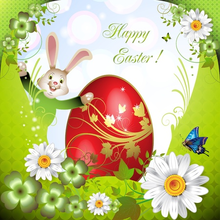 Easter card with bunny, flowers and decorated egg  Vector