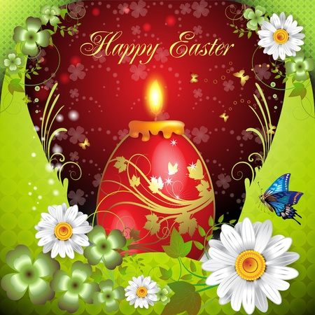 Easter card with butterflies, candle and decorated egg  Stock Vector - 9321407