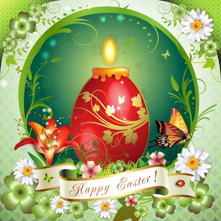 Easter card with butterflies, candle and decorated egg  Vector