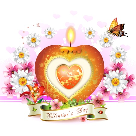 burning heart: Valentines day card. Red elegant candle with heart shape, gold decorations, flowers and ribbon Illustration