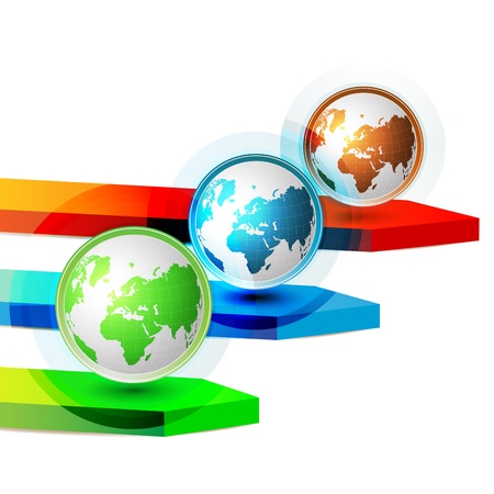 Green blue and red Earth with colored arrows  Vector