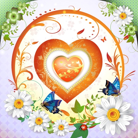Valentine's day card. Heart and butterflies  Stock Vector - 9508521