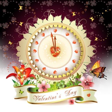 Klok ontwerp met Valentijnsdag thema over Lente achtergrond Vector Illustratie