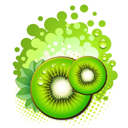 Kiwi slices with abstract background over white background Vector