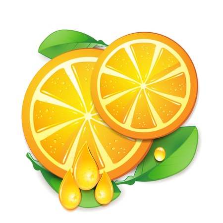 Slices orange with leaf isolated on white background.  Stock Vector - 9508515