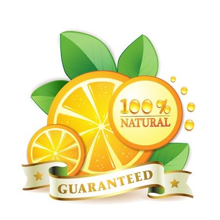 gastronomic: Slices orange with leaf isolated on white background