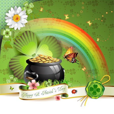 St. Patricks Day card design with butterfly and clover Vector