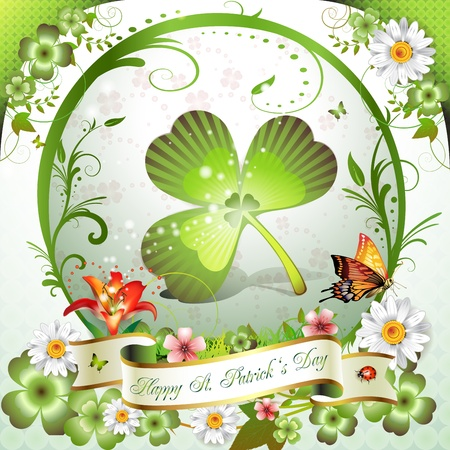 magic lily: St. Patricks Day card. Frame with clover, flowers and butterflies