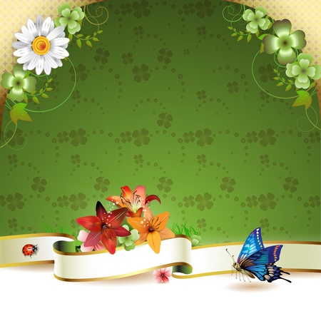 Floral background with ribbon, flowers and butterflies  Vector