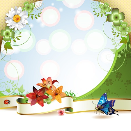 Banner with flowers and butterflies