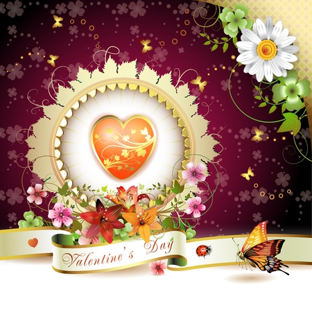 Valentines day card. Heart and butterflies over springtime background  Vector