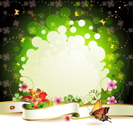 Banner with flowers and butterflies  Vector