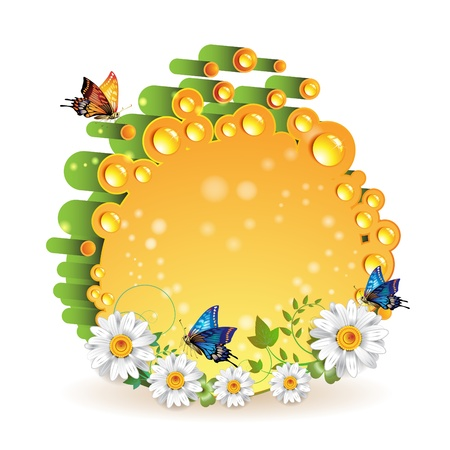 Orange 3d background with drops flowers and butterflies isolated on white  Vector