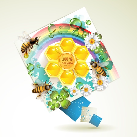 captivated: Bees and honeycombs over floral background with rainbow and drops of water