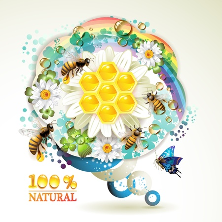 Bees and honeycombs over floral background with rainbow and drops of water Stock Vector - 9667807