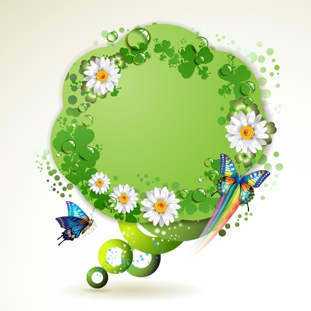 Green background with butterflies, flowers and drops of water Vector
