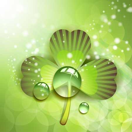 patric banner: Clover with drops of water over abstract green background  Illustration