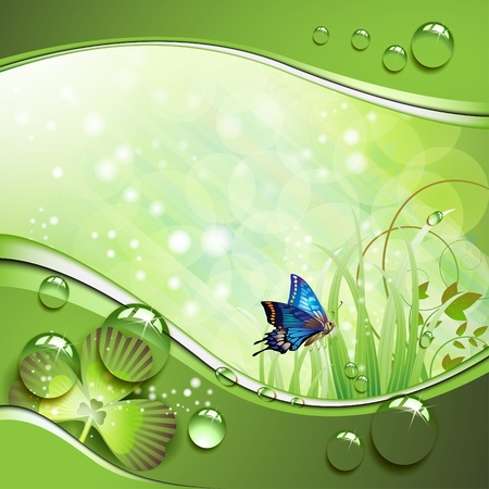 bloom: Butterfly, clover and grass with drops of water over springtime background