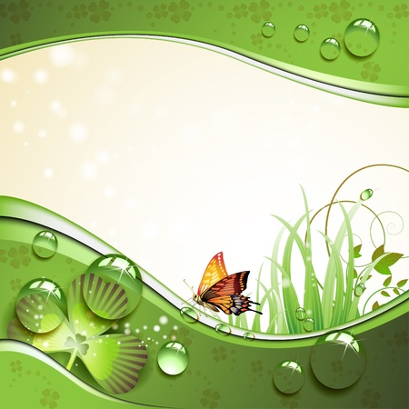 spring water: Butterfly, clover and grass with drops of water over springtime background