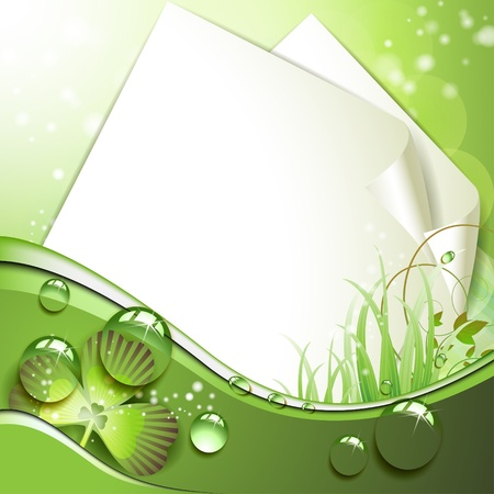Sheets of paper and clover over springtime background Vector