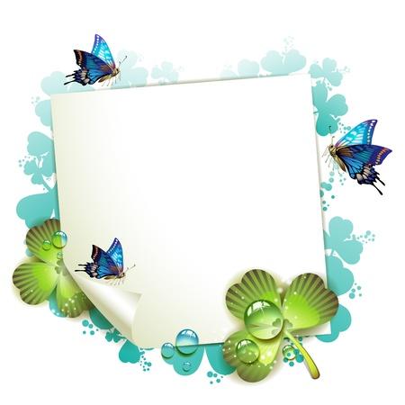 fresh idea: Sheet of paper and clover over springtime background Illustration