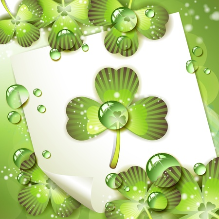 Sheet of paper and clover over springtime background  Vector