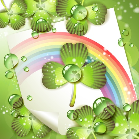 Sheet of paper with rainbow and clover over springtime background Stock Vector - 9667794