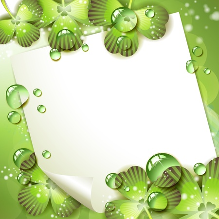 clover banners: Sheet of paper and clover over springtime background Illustration