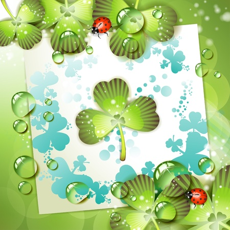Sheet of paper and clover over springtime background Stock Vector - 9667792