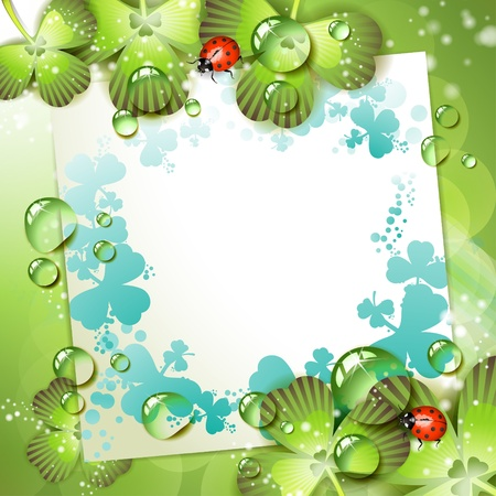 Sheet of paper and clover over springtime background Stock Vector - 9667791