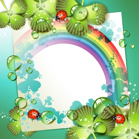 Sheet of paper with rainbow and clover over springtime background Stock Vector - 9667790