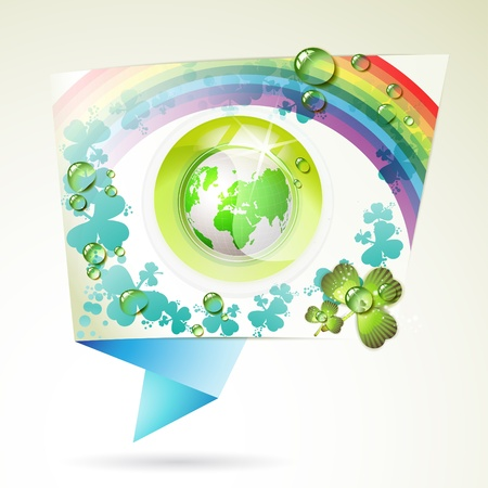 Abstract background with green Earth, clover, rainbow and drops of water Stock Vector - 9667782