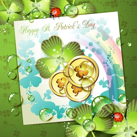 St. Patrick's Day card design with coins and clover Stock Vector - 9667799