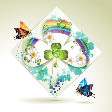 patric banner: Clover over decorative shapes of paper and colored abstract background with butterflies, rainbow and drops of water  Illustration