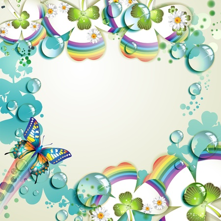 Clover with drops of water over abstract background Vector