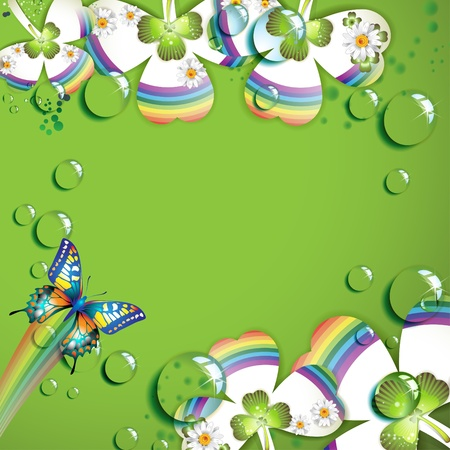 Clover with drops of water over green background  Vector