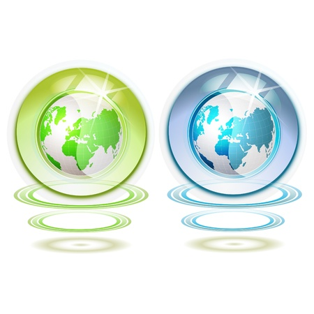 suspended: Glass globe with Earth suspended by waves isolated on white background