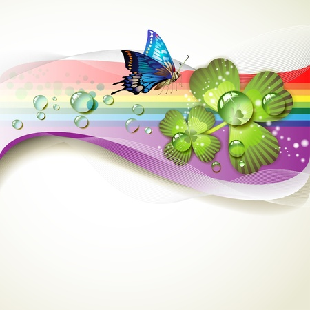 patric banner: Background with clover and drops of water over rainbow