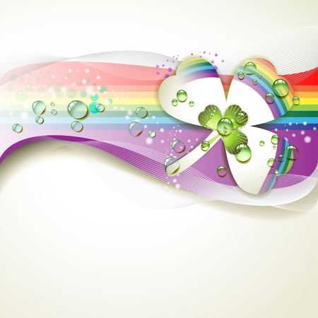 Background with clover and drops of water over rainbow Stock Vector - 9667787