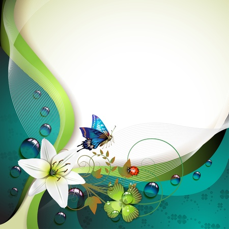 magic lily: Background with lilies, clover and drops of water