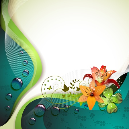 water theme: Background with lilies, clover and drops of water