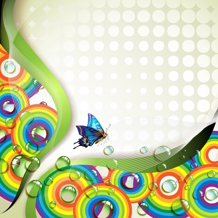 Background with butterflies and drops of water over rainbow Stock Vector - 9719181