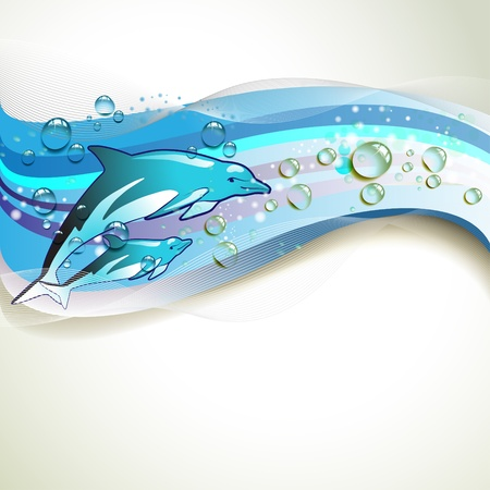Background with dolphins and drops of water  Vector