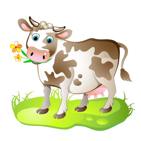 cow: Cartoon character of cow on the grass Illustration