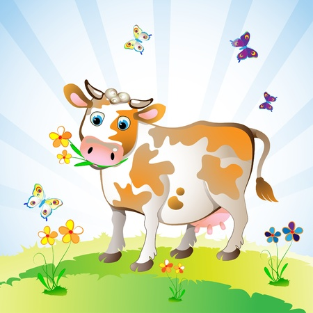 Cartoon character of cow on the grass  Vector