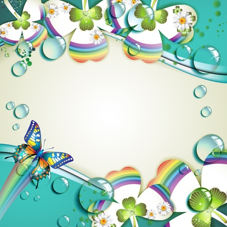 Background with colored clover and drops of water  Vector