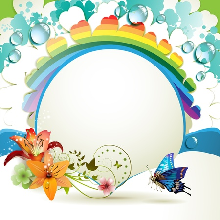 clover banners: Background with lilies, butterfly and drops of water over rainbow Illustration